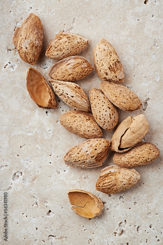 Almonds on a stone background