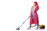 Housewife with vacuum cleaner on white