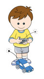 Boy Playing with Electronic Car Vector