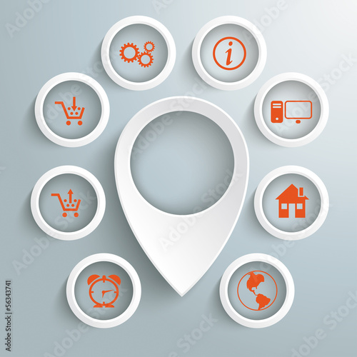 White Location Marker 8 Circles With Icons