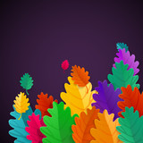 Autumn Leaves Raster illustration. Rainbow color