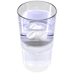 Tabletten im Wasserglas
