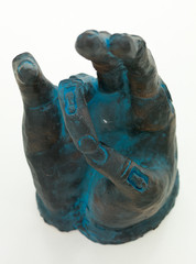 hand sculpture showing spiritual symbol