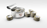 tin can with Euro coins inside