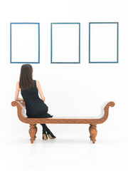woman reflecting on art