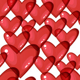 Seamless background with red transparent hearts,
