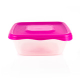 tupperware with pink cover over white background