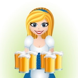 Oktoberfest cartoon girl with beer