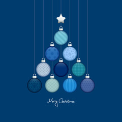 Christmas Tree Hanging Balls Pattern Blue/Silver