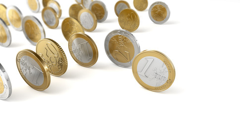 Pièces de 0,50, 1 et 2 euros sur fond blanc 1