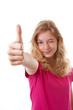 Girl with thumbs up isolated