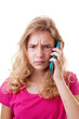 Angry Girl is calling on mobile phone