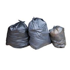 black plastic garbage isolated white