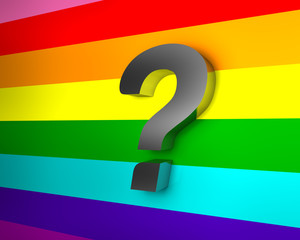Question Mark on Rainbow Flag