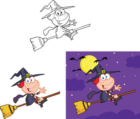 Little Witch Cartoon Mascot Character. Collection Set