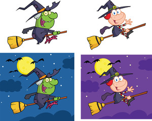 Witches Cartoon Mascot Characters. Collection Set