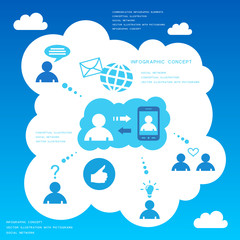 Social network infographic design elements