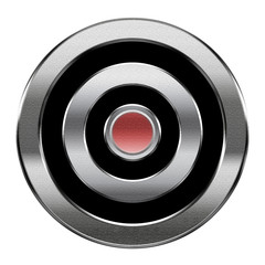 Record icon silver, isolated on white background.
