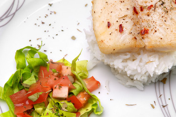 Catfish filet with rice and salad on a plate