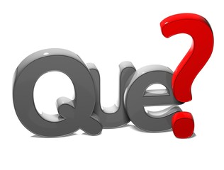 3D Question Word What In Spanish Language on white background