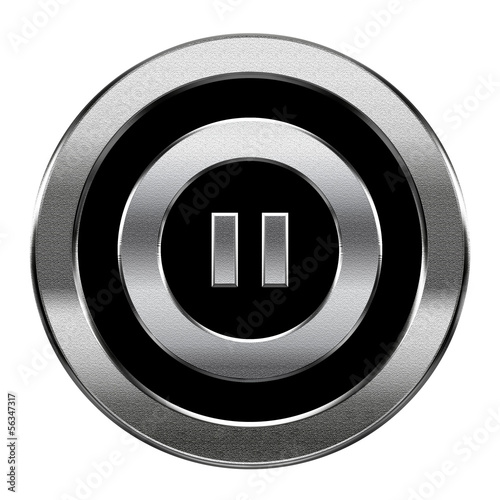 Pause icon silver, isolated on white background.