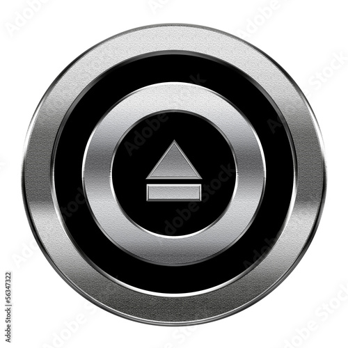 Eject icon silver, isolated on white background.