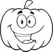 Back And White Happy Halloween Pumpkin Cartoon Illustration