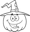 Back And White Happy Halloween Pumpkin With A Witch Hat
