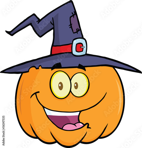 Happy Halloween Pumpkin With A Witch Hat Cartoon Illustration