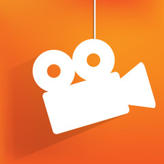 Videocamera web icon, flat design