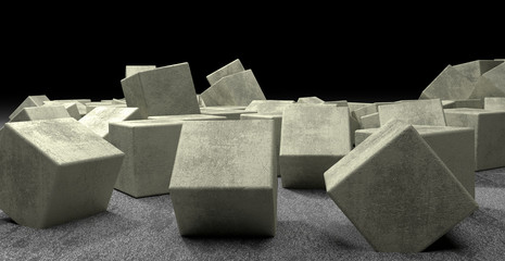 The light concrete cubes
