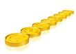 eine Reihe Goldmünzen