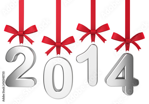 2014 new year concept. Numbers hanging on nice bows