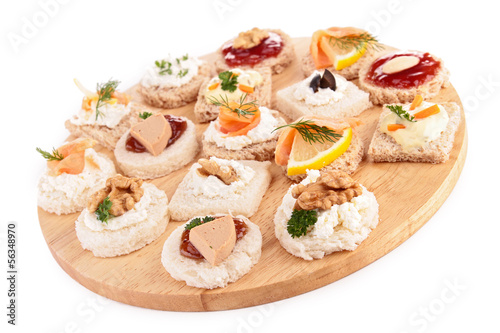 Papiers peints Assortiment assortment of canapes, toast