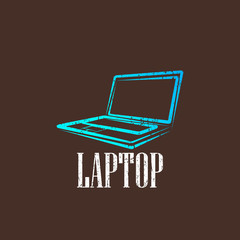 vintage illustration with a laptop