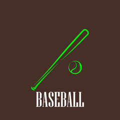 vintage illustration with a bat and a ball. baseball symbol