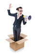 Woman businesswoman with loudspeaker inthe box