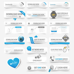 Web design template elements Navigation buttons with icons