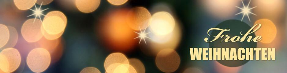 frohe weihnachten banner mit bokeh