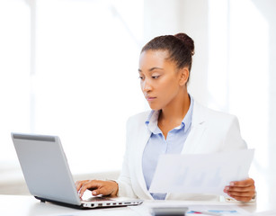 businesswoman working with computer in office