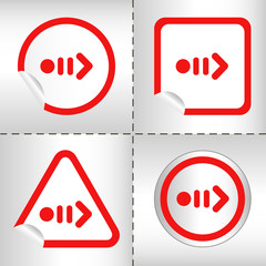 simple icon set of arrows on sticker button different forms