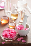 aromatherapy and alchemy with pink flowers