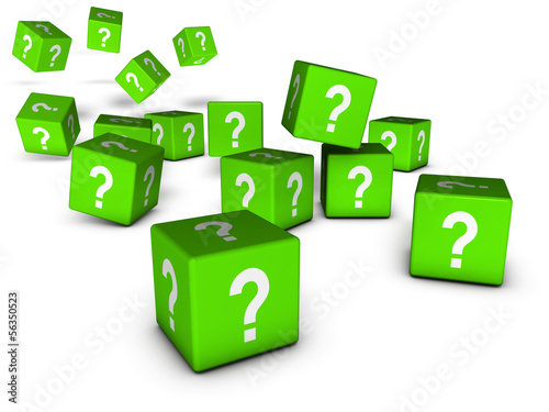 Green Question Marks Cubes