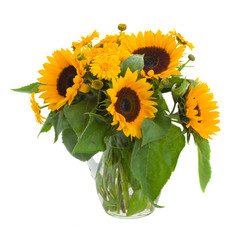 sunflowers  and marigold flowers in vase