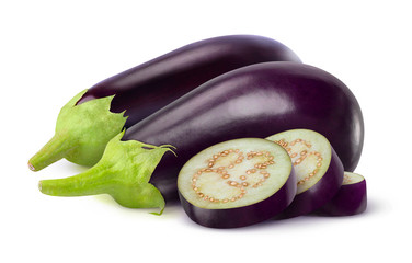 Eggplants isolated on white
