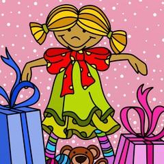 bambina con regali