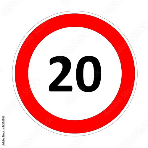 20 speed limit sign