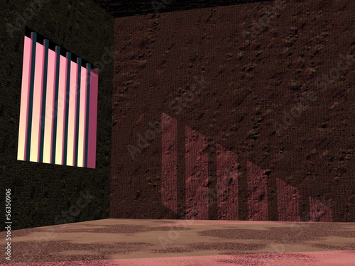 Prison jail by sunset - 3D render