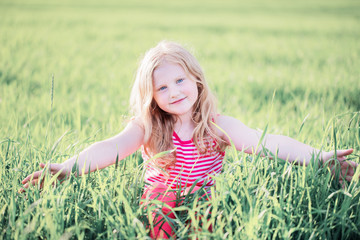 smile girl on the meadow