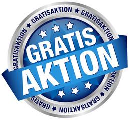 """Button Banner """"Gratisaktion"""" blau/silber"""
